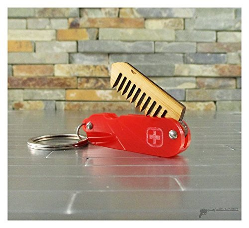 Mini Acrylic and Bamboo Mustache Folding Comb, Swiss Army Knife Style by L.I.M. Lazer