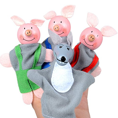 AMA(TM) 3PCS Three Little Pigs and 1PC Wolf Finger Puppets Hand Dolls Baby Kids Infant Toy Plush Toys Educational Toy Christmas Gifts (Angry Birds Halloween 1-2 3 Stars)