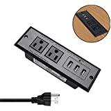 Desktop Power Strip with USB Recessed Power Socket,Conference Table Power Outlet Grommet,Desk Power Strip with 2 US Plugs and 3 USB Ports, Multi-Protection&6.5ft Cable for Office,Kitchen,Hotel(Black)