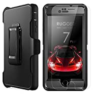 iPhone 7 Plus Case,MBLAI Glass Screen Protection+Heavy Duty Defense Case 4 Layers Rugged Rubber Shock Absorbent Drop Proof with Belt-Clip Holder Case Cover for iPhone 7 Plus[5.5 inch],Black