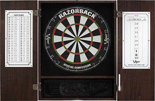 Viper Metropolitan Solid Wood Cabinet & Sisal/Bristle Dartboard Ready-to-Play Bundle: Premium Set (Razorback Dartboard and Darts), Espresso Finish ()