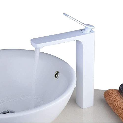 Commercial Modern Bathroom Vessel Sink Faucet Single Handle Mixer Lavatory Vanity Basin Faucet with Tall Body, One Hole, White Painting, Beelee BL6601AWH