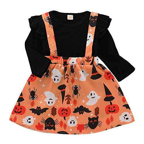 Baby Halloween Costume,Leegor Kids Girls Bud Long Sleeve Tops Pumpkin Cartoon Skirt Outfits Set ()