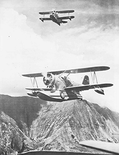 Home Comforts Laminated Poster Two U.S. Navy Grumman J2F Duck floatplanes of Utility Squadron VJ-1 Over Oahu, Hawaii (USA), in The Vivid Imagery Poster Print 24 x -