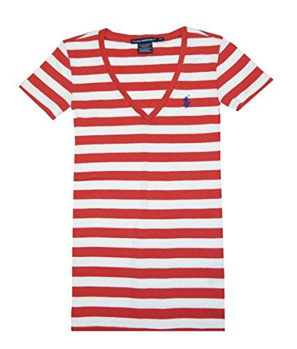 Ralph Lauren Sport Women V-neck Ribbed Striped Pony Logo T-shirt (S, Deep Orange/White)