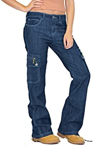 Women Relaxed Fit Straight Leg Cargo Pants Wide Leg Denim Combat Jeans Fashion Hiking Multi Pocket Trousers Casual Active Mil