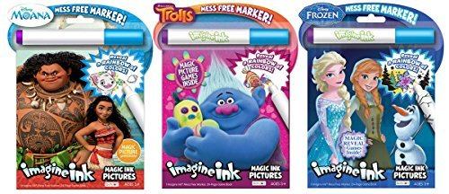 Bundle of 3 Imagine Ink Magic Pictures Activity Books - Moana, Trolls & -
