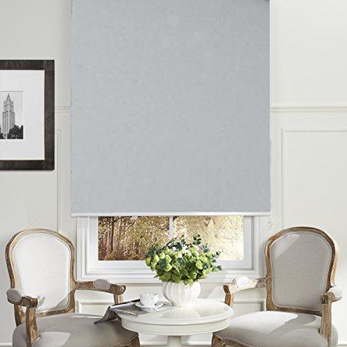 Custom Grey Fabric (PASSENGER PIGEON Thermal Insulated 100% Blackout Waterproof Fabric Custom Window Roller Shades Blinds,30