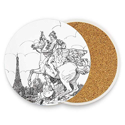 European Cityscape France Historical Sculpture Rearing Horse Eiffel Coasters for Drinks Absorbent 4 Inch No Holder Reusable Round Coasters for Bar Glass Cup Table