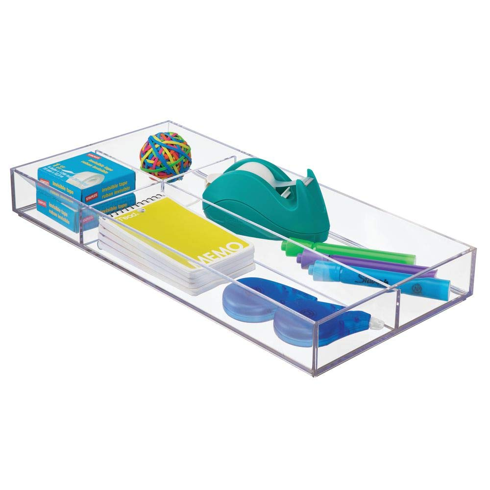 """mDesign Plastic Divided Drawer Organizer for Home Office, Desk Drawer, Shelf, Closet - Holds Highlighters, Pens, Scissors, Adhesive Tape, Paper Clips, Note Pads - 4 Sections, 16"""" Long - Clear"""