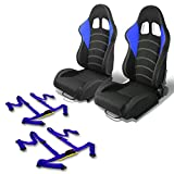Pair of RS-015-BK-BL Woven Fabric Reclinable Racing Seat+Blue 4pt Buckle Belts