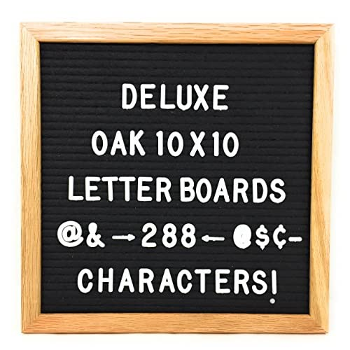 New Black Felt Letter Board with 288 White Letters Number and Punctuation, Premium Solid Oak Frame Changeable Signs Letters Display Any Message, 10 x 10 Inches by Shout Out
