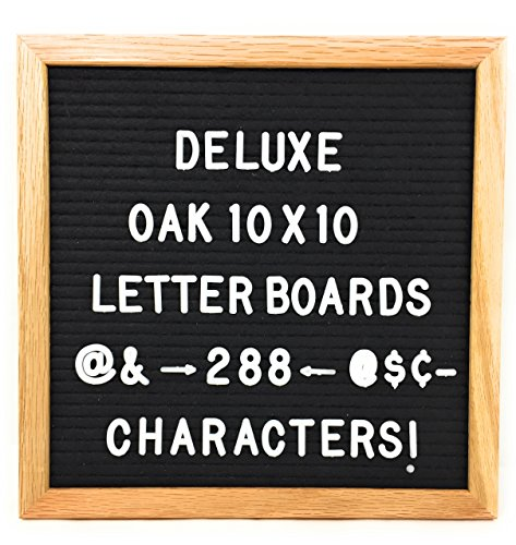 Black Felt Letter Board with 288 White Letters Number and Punctuation, Premium Solid Oak Frame Changeable Signs Letters Display Any Message, 10 x 10 Inches by Shout Out