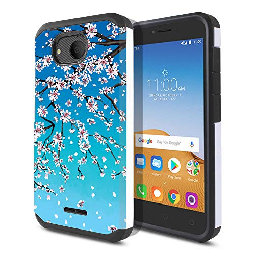 FINCIBO Case Compatible with Alcatel Tetra 5 inch, Dual Layer Hard Back Hybrid Protector Case Cover Anti Shock TPU for Alcatel Tetra - Falling Cherry ()