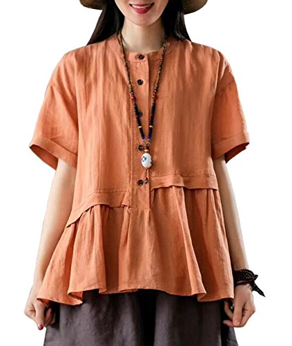 One Button Linen - YESNO Y63 Women Casual Loose Fit Blouse Shirt Button-Up Shirt 100% Linen 'A' Skirt Gathered Short Sleeve
