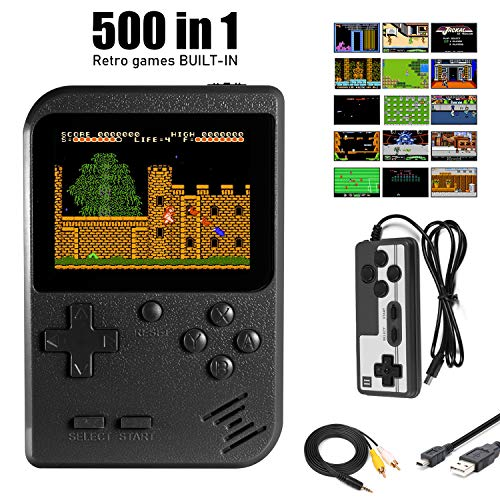 Imponigic Handheld Game Console Retro Mini Game Player with 500 Classic Game 1020mAh Rechargeable Battery 3 Inch IPS Screen Best Childhood Memory Present for Kids