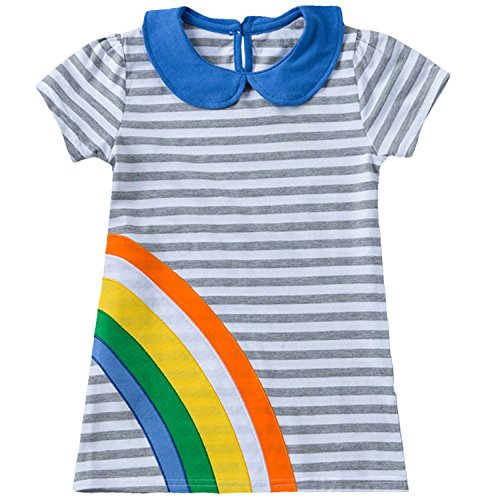 Baby and Little Girls Short Sleeve T-shirt A-line Dress(Rainbow,5-6 Years) (Rainbow High Low Prom Dress)