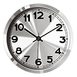 Hippih 12Non-ticking Silent Wall Clock- Metal Frame Glass Cover,