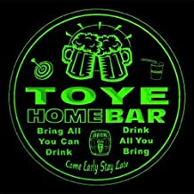 4x ccq45434-g TOYE Family Name Home Bar Pub Beer Club Gift 3D Engraved Coasters