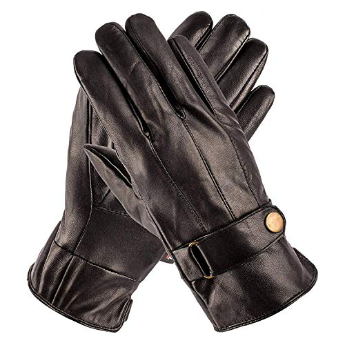 Pierre Cardin Leather Glove with Strap (Black, Large)