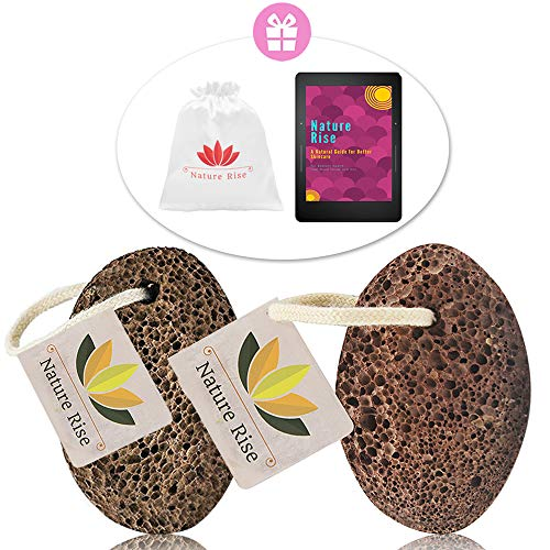 (Lava Pumice Stone for Feet   Premium Foot Scrubber & Callus Remover   2 Pack w/Travel Bag Perfect for Home Work Holiday   Natural Foot File Exfoliation for Men & Women   Includes Free Ebook)