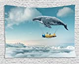 Ambesonne up in The Air Tapestry Wall Hanging, Dreamy View of Whale and Aeroplane, Bedroom Living Room Dorm Decor, 60 W X 40 L inches