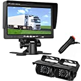 LeeKooLuu Dual Backup Cameras and 7'' TFT Monitor Kit System for RV/Van/Trailer/Truck/SUV/Bus/Motorhome IP68 Waterproof Night Vision Plug to Cigaratte Lighter/Single Power
