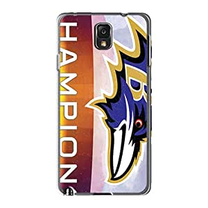 Perfect Cell-phone Hard Covers For Samsung Galaxy Note 3 (quN25801PXKj) Allow Personal Design Realistic Baltimore Ravens Series
