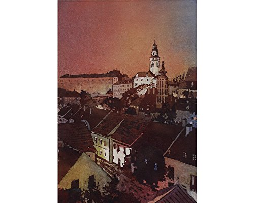 Fine art watercolor painting of the church steeple of 13th century Castle rising above buildings of medieval village of Cesky Krumlov- Czech Republic (print)