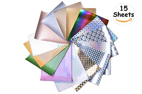 WENTO 15 Sheets 8'' x 12''20x30cmAssorted Color Textured Holographic Vinyl Sheets,Holographic Fabric For Sparkling decorations Patchwork Sewing DIY Craft
