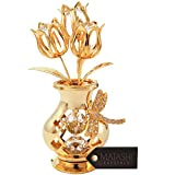 Mothers Day Gift – Crystal Studded Flowers in a Vase Ornament, Beautifully Crafted with 24K Gold, Clear Crystals & Decorative Dragonfly - Mothers Gifts - Great Gift Idea for Mom by Matashi