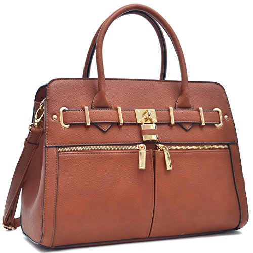 Double Front Pocket Handbag - Women Padlock Briefcase Vegan Leather Satchel Handbags Shoulder Bag Work Purse with Double Front Pockets