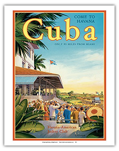 - Pacifica Island Art Come to Havana, Cuba - Oriental Park Racetrack, Marianao - Havana-American Jockey Club - Vintage Style World Travel Poster by Kerne Erickson - Fine Art Print - 11in x 14in