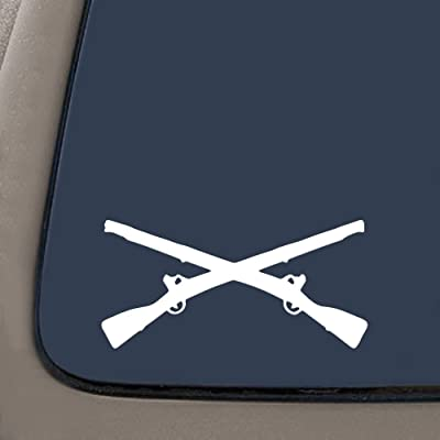 """CMI NI171 Army Infantry Crossed Rifles White Decal Sticker Die-Cut White Decal Sticker   6"""" Wide: Automotive"""