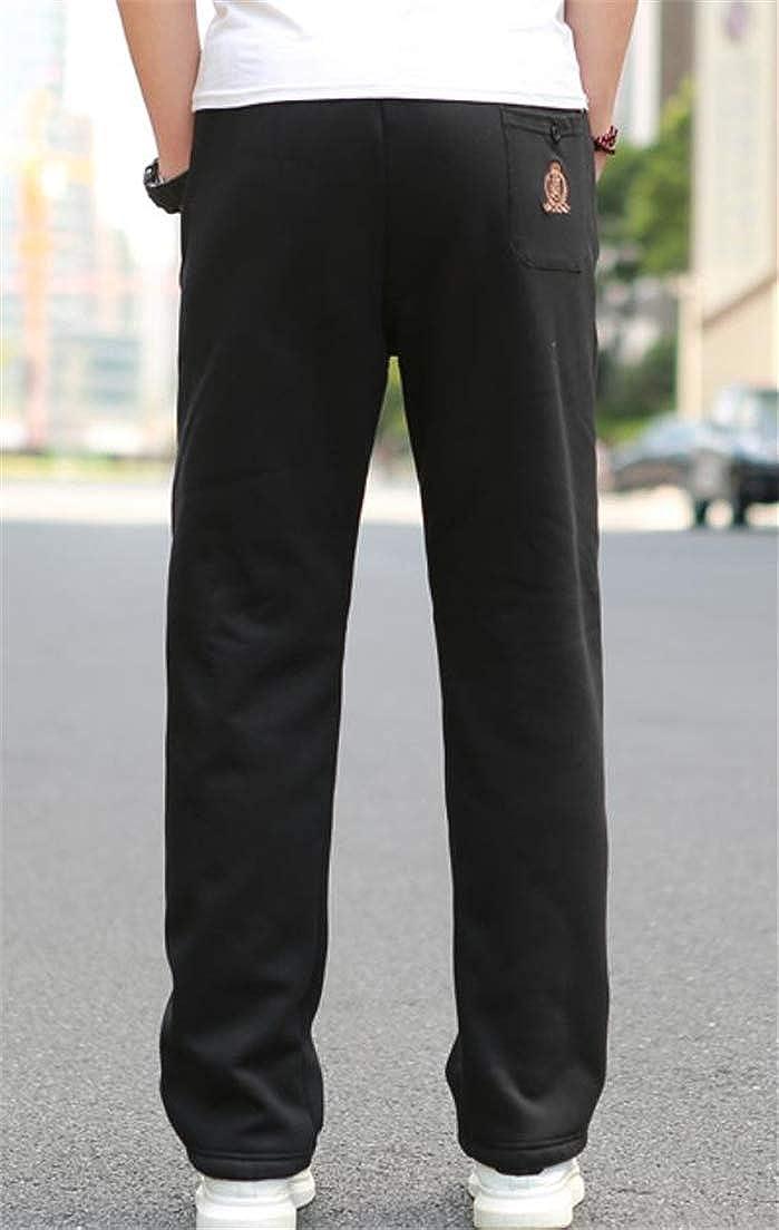 Hajotrawa Mens Fashion Elastic Waist Trousers Plus Size Fleece Active Straight Leg Pants
