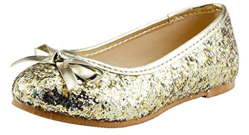 The Doll Maker Bow Top Glitter Flat-FBA173032D-11, Light Gold, 11 M US Little - Flat Top Kids