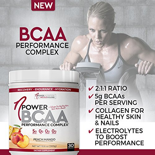 nPower Nutrition BCAA All Natural BCAA, Collagen, Electrolyte Powder 30 Servings Peach Mango