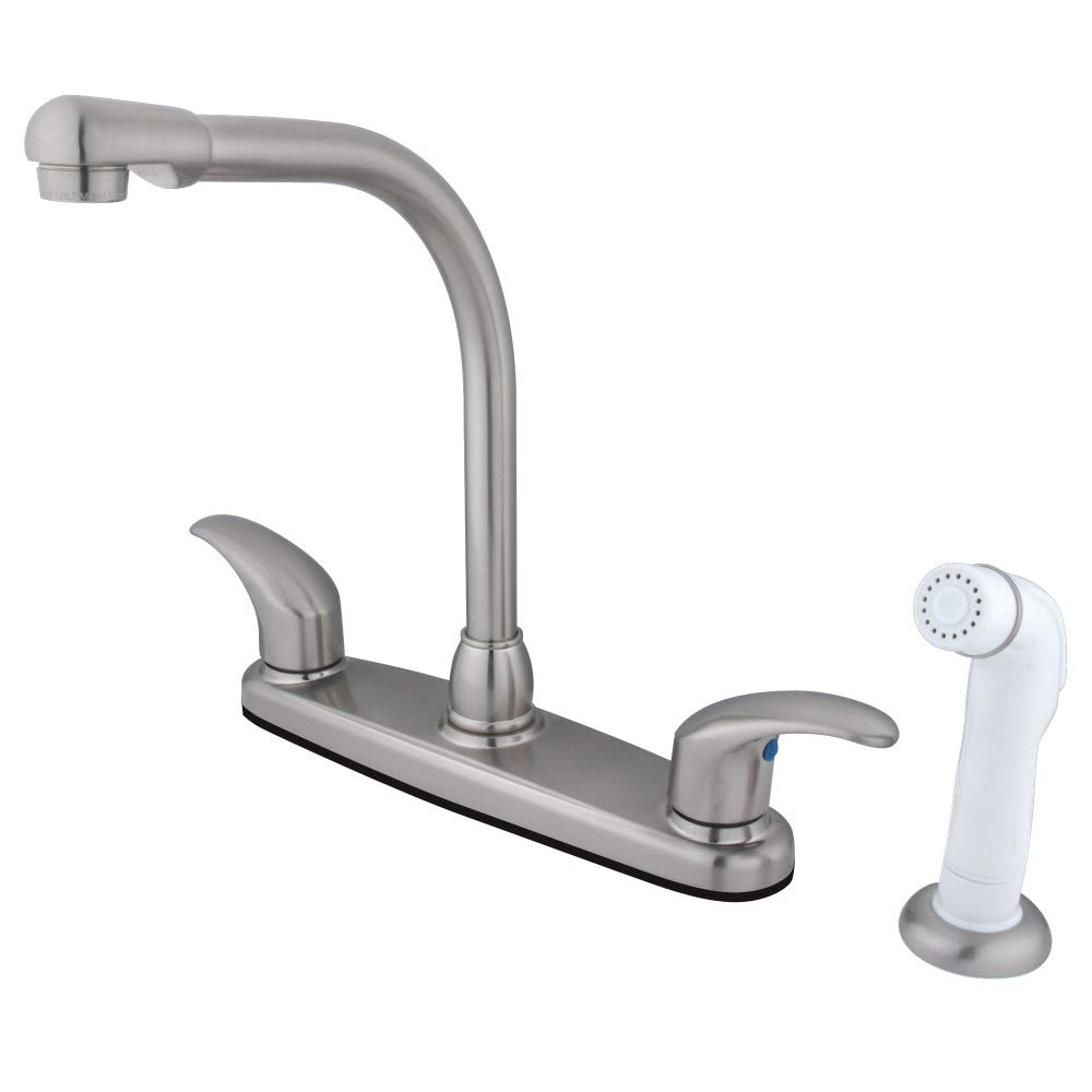 Kingston Brass FB718LL 7-Inch in Spout Reach Legacy 8-Inch Centerset Kitchen Faucet with White Sprayer, Brushed Nickel