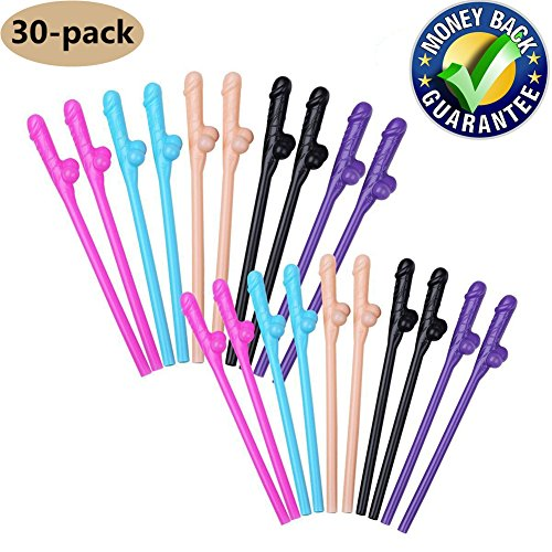 Bachelorette Party Drinking Straws-Fun Party Drinking Straws-Bachelor Party Supplies Fun Bachelorette Straw for Naughty Party, Birthday Party, Bridal Showers (30 Pack, Multi Colors) by fanson