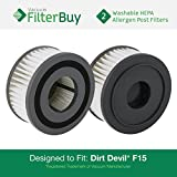 2 - Dirt Devil F15 (F-15) Washable HEPA Replacement Filters, Part # 1-SS0150-000, 3-SS0150-001. Designed by FilterBuy to fit Dirt Devil Extreme Quick Models 084505, 084506, 084507