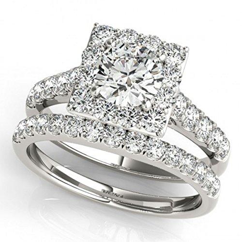Allurez Diamond Halo Square Shape Border Bridal Ring Set Platinum (3.28ct)