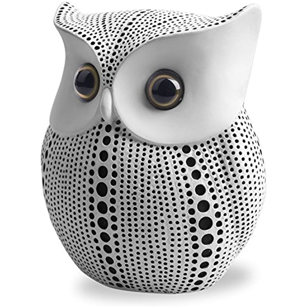 Statues For Home Decor Crafted Owl Statue White Or Black Small Animal Figurines
