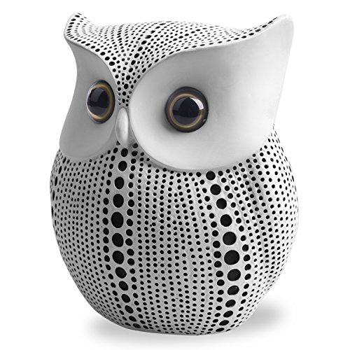 APPS2Car Crafted Owl Statue (White) Small Animal Figurines for Home Decor, BFF for Owl Bird Lovers, Living Room Bedroom Office Decoration - Western Dots Collection
