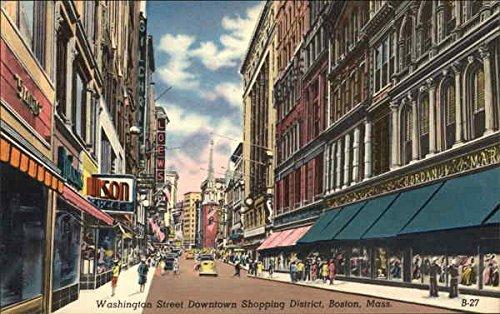 Washington Street Downtown Shopping District Boston, Massachusetts Original Vintage - Boston Downtown Shopping