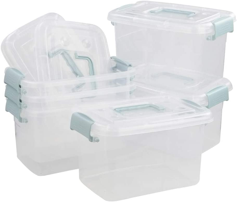 Sandmovie 7.5 Quart Plastic Storage Container Box with Lid and Handle, Clear and Mint Green, 6 Packs