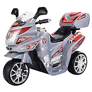 Gray 3Wheel Kids Ride On Motorcycle 6V Battery Powered Electric Toy Power Bicyle