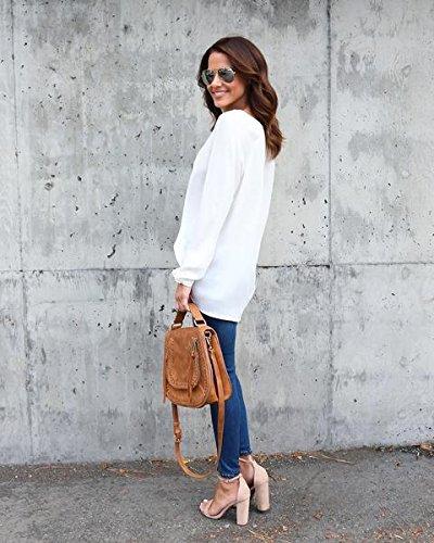Chemise Blanc Yidarton Longues Fluide Classique Blouse Femme Chic Casual Manches Longue Top PUqBUx5
