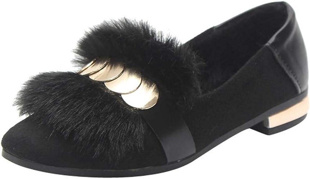 Appartements en Peluche LuckyGirls Mode Nouveau Automne Hiver Confortables Appartements Mocassins f/éminines en Cuir Chaussures de Haricot de Fourrure Lapin 35-40