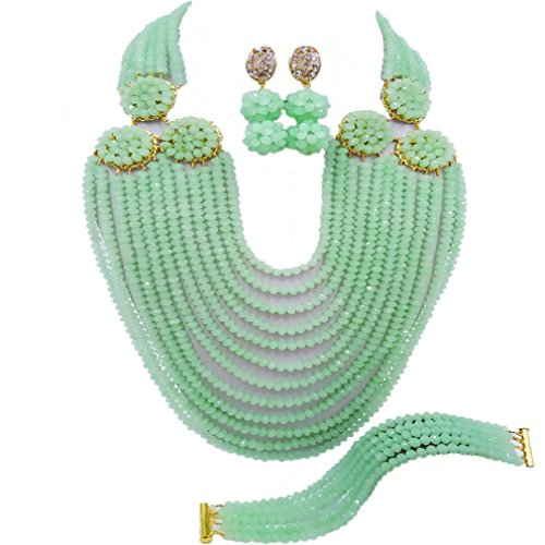 acuzv 12 Rows Beaded Strand Necklace African Beads Jewelry Set for Brides Bridesmaids Wedding Bridal Jewelry Sets (Mint (Mint Beaded Necklace)