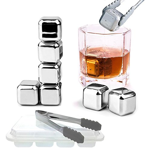 Square One Organic Vodka (Splink 8 Pcs Whiskey Chilling Stones with 1 Tong, Reusable Stainless Steel Ice Cubes, Whiskey Stones, Keep Ice Cold and No Water Dilution for Whiskey Wine Juice Drinking)